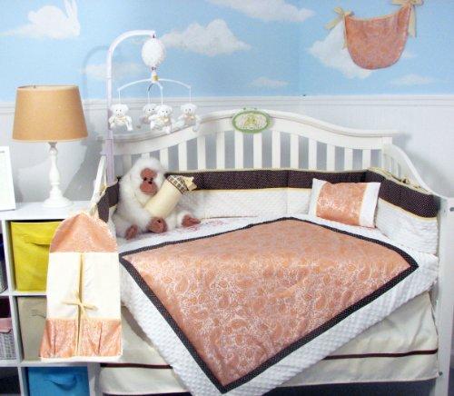 SOHO-Citrus-Paisley-white-Chenille-Crib-Nursery-Bedding-Set-14-pcs
