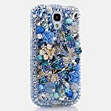 3D Luxury Swarovski Crystal Sparkle Diamond Bling Blue Butterflies Flowers Design Case Cover for Samsung Galaxy S4 S 4 IV i9500 fits Verizon, AT&T, T-mobile, Sprint and other Carriers (Handcrafted by BlingAngels®)