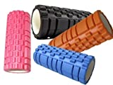 GRID FOAM EXERCISE ROLLER - PILATES YOGA SOFT TISSUE MASSAGE CORE BODY FITNESS - BLACK