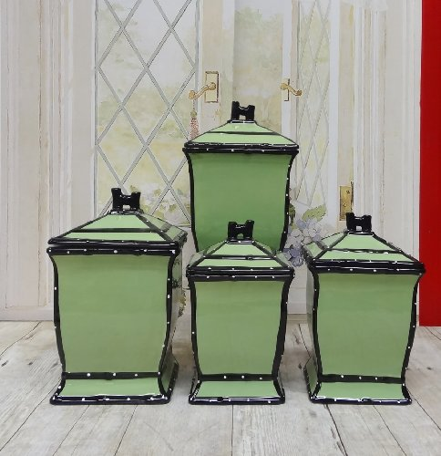 Tuscany Pistachio Green, Ruffle 4-Piece Canister Set, 85401 By Ack back-405938