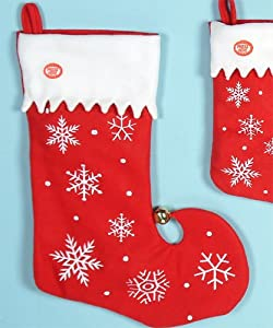 "Musical Dancing Christmas Stocking - Jingle Bells - 18"" Red with Snowflakes"