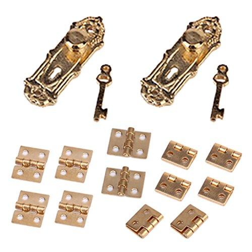 Miniatur Vintage Türschloss Mit Schlüssel Und Scharnier Für 1 /12 Puppenhaus Möbel