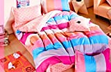 Bellagio Checks n Stripes Cotton 1 Double Bed Sheet & 2 Pillow Covers (Multicoloured)
