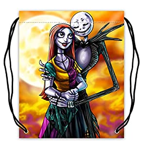 Jack And Sally Pattern Polyester Fabric Basketball Drawstring Bags Drawstring Tote