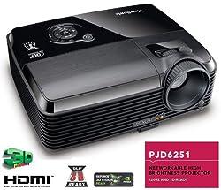 ViewSonic PJD6251 3700 Lumens,3D Ready,HDMI,Networkable,RJ45,XGA/SXGA DLP Projector Better than PJD5523w,PJD5353,PJD5133
