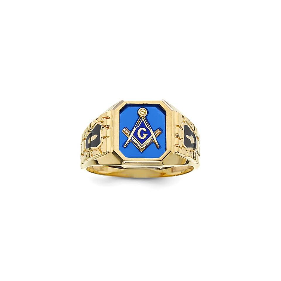 10k Blue Acrylic Mens Masonic Ring