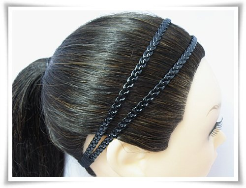 h1804-black-headband-leatherette-double-braid-stretch-elastic-by-fonza-shop