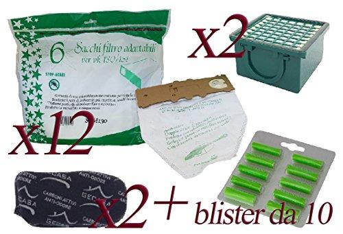 Sacchetti in Microfibra per vk130 - vk131 + Profumini al Pino + Filtro Carboni + Filtro Hepa (12 Sacchetti + 10 Profumini + 2 Carboni + 2 Hepa)