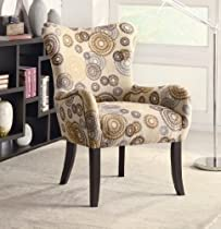 Hot Sale Coaster 902052 Plush Patterned Accent Chair, Beige Circles