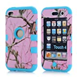 Super Spiderman Fashion Vivid Twig Branch Print New Dual Layer Protection ( PC + Silicone ) Hybrid Back Case Cover for Apple iPod Touch 4 4th Generation with Logo Cutout - Inner Sky Blue