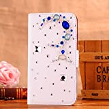 Locaa(TM) SONY Xperia SP M35H C5303 3D Bling Case Deluxe Luxury Crystal Pearl Diamond Rhinestone eye-catching Beautiful Leather Retro Support bumper Cover Card Holder Wallet Cases - [General series] The blue moon