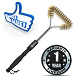 Brass Grill Brush 18 - Heavy Duty Bristles - Extremely Effective - Perfectly Safe for Porcelain Coated Cast Iron Grill Grates - Great with Charcoal, Gas, Propane, Smoke Grills and Oven - Impressive Gift for Men - Free BBQ Recipes Ebook Bonus - 1 Year No Hassle Money Back Guarantee