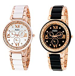 Addic Combo of Queen Hearts Limited-Edition Midnight Black Watch for Women