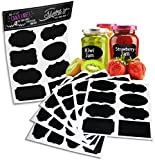 "Chalkboard Labels Set (6 Sheet Pack) - 48 Reusable Premium Quality Black Decorative Adhesive Stickers in 8 Unique Designs 3.5""x2"" - Pantry Storage Organizer, Canning Jar Chalk Labels, Gift Tags, Classroom Organization - Write Peel and Stick! - 100% Quality Guarantee"