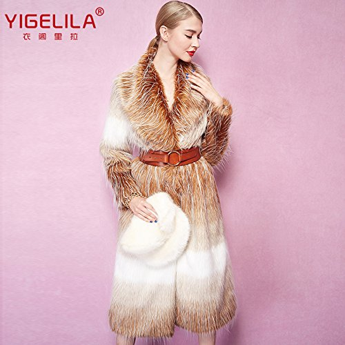 Fashion Women Long Gradient Color Fox Fur Coat Long Sleeve 4