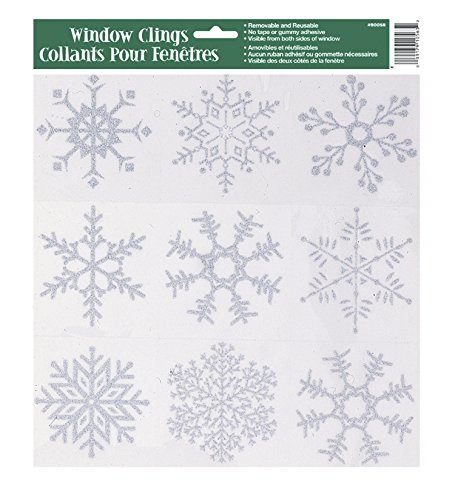 Silver Glitter Snowflake Window Clings - 1
