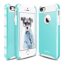 Hinpia [Seaplays] Case for Apple iPhone 5 5S SE Dual Layer Ultra Slim Bumper Cover Rugged Hybrid Shock-Absorption and Anti-Scratch Protective -Mint/White