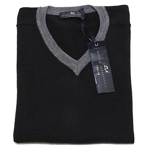 9955M maglione uomo DANIELE ALESSANDRINI nero sweater men [50/M]