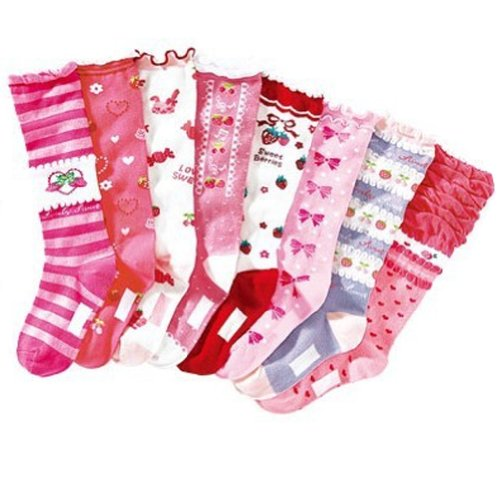 Deer Mum 8 Pairs Girl'S Princess Style Knee High Socks (Pack 8) front-110617