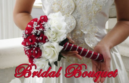 wedding bouquet bridal package bridesmaid groom boutonniere corsage silk flowers love CECILIA RED CREAM