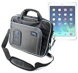 DURAGADGET Maletín Negro y Azul Con Bandolera Ajustable Para El Nuevo Apple iPad Air Wi-Fi + Cellular Gris Espacial y Plata 16GB 32GB 64GB 128GB