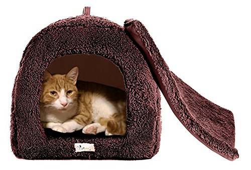 BINGPET Cat Dog Arch House Pet Bed Crate Igloo for Small Animal with Kennel Pad, Brown (Cat House Igloo compare prices)