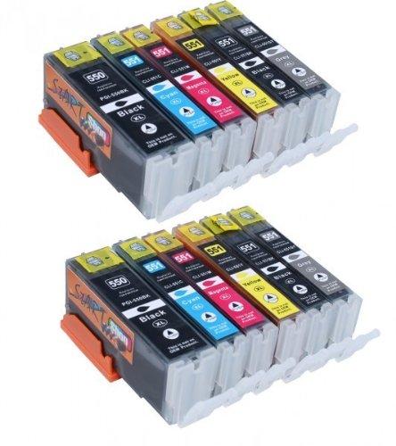 Start - 12 XL Ersatz Chip Patronen kompatibel zu Canon PGI-550BK XL Schwarz, CLI-551BK XL Foto-Schwarz, CLI-551C XL Cyan, CLI-551M XL Magenta, CLI-551Y XL Gelb, CLI-551GY XL Grau für Canon Pixma iP8750, MG6350, MG6450, MG7150