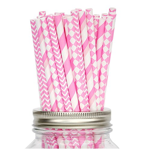 Secret Life(TM) 100 Pcs Biodegradable Paper Straws Kit with Same Color 4 Patterns, Bachelorette, Baby Shower, Wedding, Birthday, Anniversary Party S