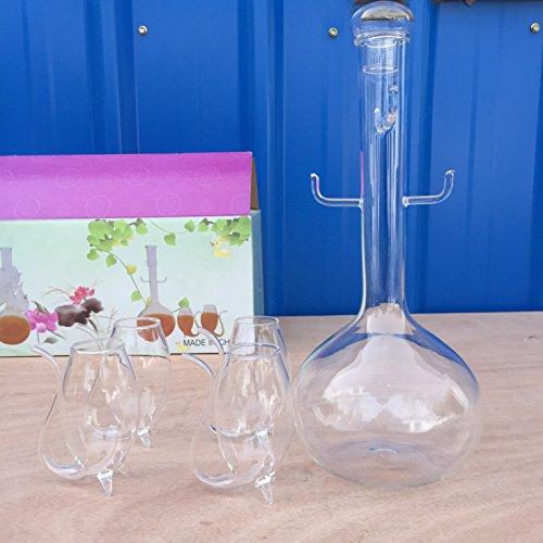 Unbekannt Weinflasche + 4pcs Vampir Weinglas Sipperschale Saugen Trinkhalm Becher