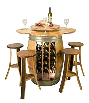 Vintage Oak Wine Barrel Table Set with Wine Rack, Lazy Susan and Stools - Made in the USA from ITGAM Products