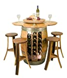 Vintage Oak Wine Barrel Table Set with Wine Rack, Lazy Susan and Stools - Made in the USA
