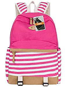 Leaper Cute Navy Style School Backpack Striped Canvas Bookbag Casual Travel Rucksack Rose