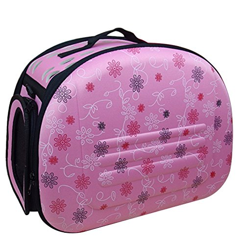 Pet Travel Bag Folding EVA Soft-sided Dog Cat Carrier Travel Cage Airline Approved Handbag pink