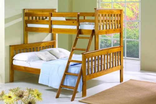 Cute Twin over Full Mission Bunk Bed in Honey