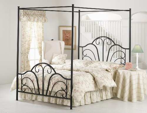 King Hillsdale Dover Black Metal Canopy Bed