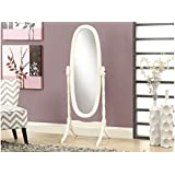 Monarch Solid Wood Oval Cheval Mirror, Antique White