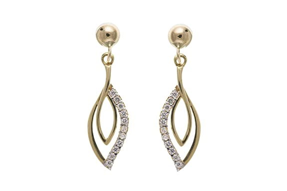 9ct Gold Cubic Zirconia Fancy Drop Earrings