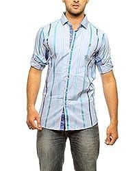Groove Men Cotton Blue Casual Shirt (X-Large)