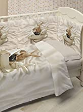 Ipersan Bunnies In Love Fine-Art Set 5 Pezzi Copripiumino Lettino Fotografico, Piazzato, Cotone, Beige