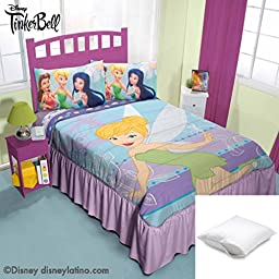 Disney Tinker Bell 4-Pc Comforter Bedspread Set Twin Bundled with Two Pillow Protectors