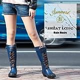 Amaort [アマート] 正規品 SHEAT ロング レインブーツ (長靴) レディース ブラッククロコ Sサイズ 23cm