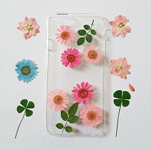 Wioucou iPhone6/6sケース 押し花 専用ケース 防水 耐衝撃 手作り 人気オシャレ 新品花柄 クリア ハンドメイド ピンクとローズピンク花びら