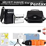 Essential Accessory Kit For Pentax Optio WG-1, WG-2, WG-3 GPS, Ricoh WG-4 GPS, WG-4, WG-30, WG-30W, WG-5 GPS Waterproof Digital Camera Includes Replacement D-LI92 Battery + Ac/Dc Charger + Case + More