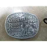 1992 HESSTON BELT BUCKLE -- CALF ROPING -- MINT IN PACKAGE -- SMALL-SIZED YOUTH / JUNIOR / LADIES BUCKLE -- National Finals Rodeo -- NFR