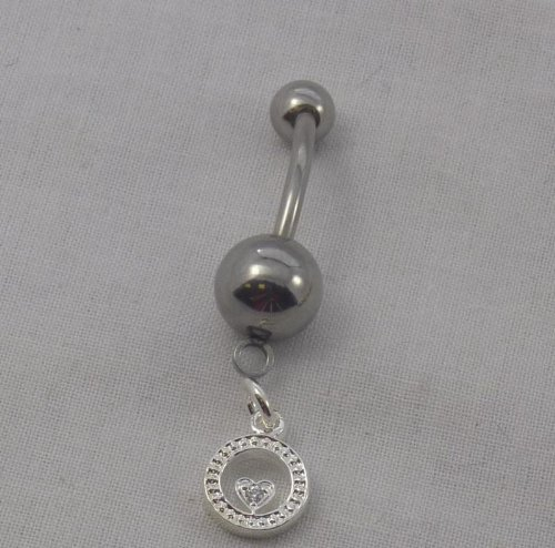 Charming Letters- Belly Ring O W/Cz's IAAO-BR (T33)