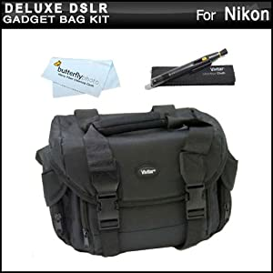 Deluxe Large Digital SLR Gadget Bag / Case for Nikon Df, D7100, D7000, D5200, D5300, D3300, D5100, D3200, D3100, D800, D810, D600, D610, D300S, D90 Digital SLR Cameras + Lens Pen Cleaning Kit + MicroFiber Cleaning Cloth