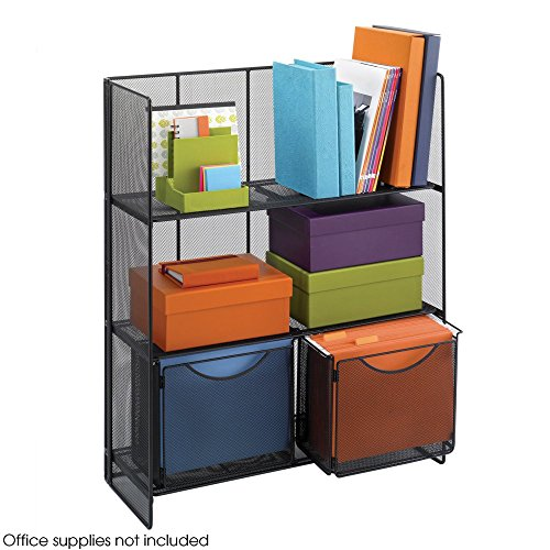 Safco Products 6240BL Onyx Mesh Fold-Up Shelving, Black Safco 3 Shelf Bookcase