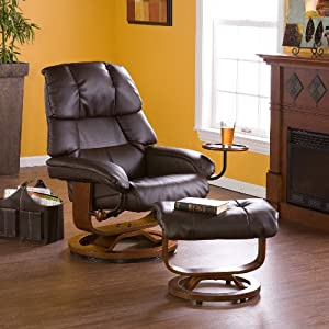 Cafe Brown Leather Recliner with Ottoman