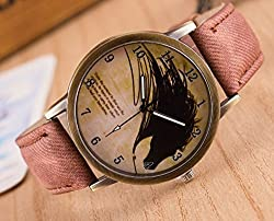 Zeen - Fashion Retro Casual Dress leisure dress BRN Cowboy Jeans Leather Band Quartz Analogue Smart Watch + with extra cell