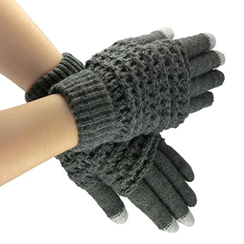 Lerway Lady Girls Women Gloves Winter Warm Wool Knitted Touch Screen Gloves for Touch Screen Cell Phone Tablet PC iPhone 6 Plus Google Nexus 7 5 HTC Samsung Galaxy S5 LG – Grey